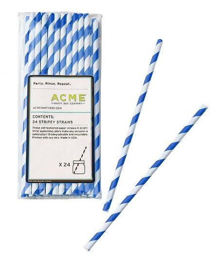 Blue Stripe Straw – Set of 48