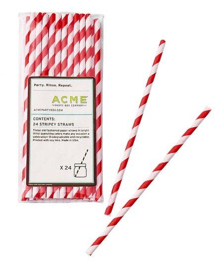 Red Stripe Straw – Set of 48