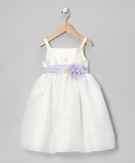 Ivory &amp; Lilac Flower Dress - Infant, Toddler &amp; Girls