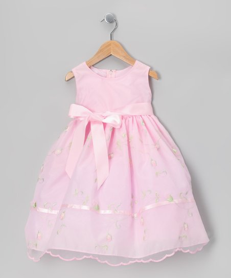 Dimples Pink Embroidered Organza Dress - Infant, Toddler & Girls