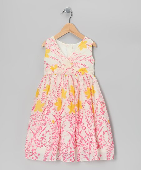 Dimples Pink Floral Chiffon Surplice Dress - Toddler & Girls