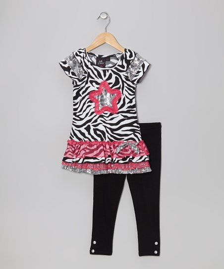 Pink Shimmer Flower Tunic & Black Leggings - Girls