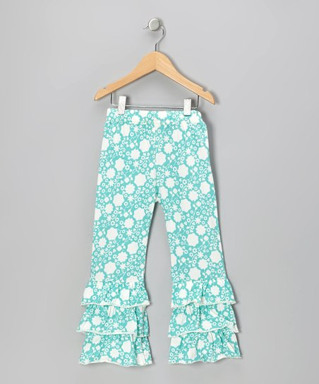 Teal Floral Ruffle Organic Pants - Infant & Toddler