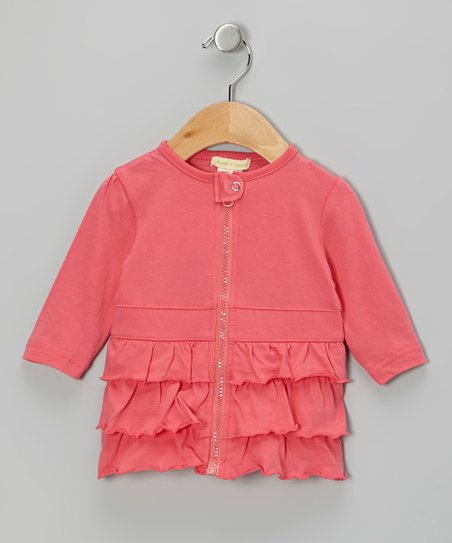 Dark Pink Ruffle Tab Organic Jacket - Infant