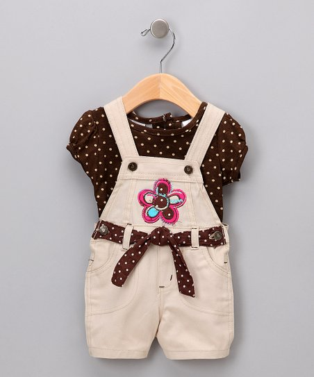 Brown Polka Dot Tee & Khaki Shortalls - Infant