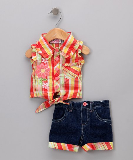 Orange Plaid Tank & Shorts - Infant