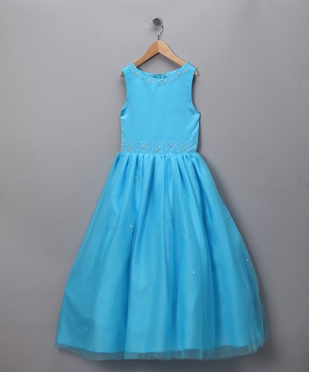 Turquoise Beaded A-Line Dress - Toddler & Girls