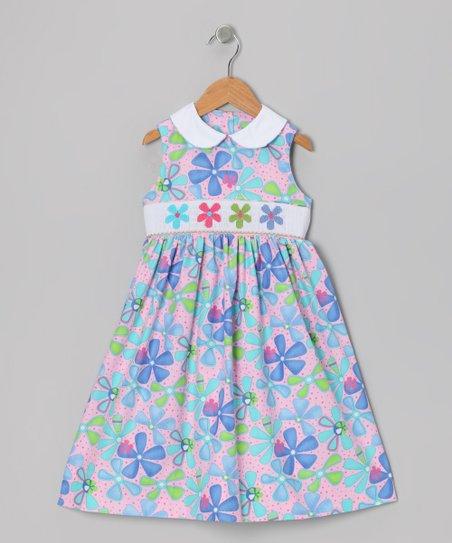 Pink & Purple Floral Collar Smocked Dress - Toddler & Girls