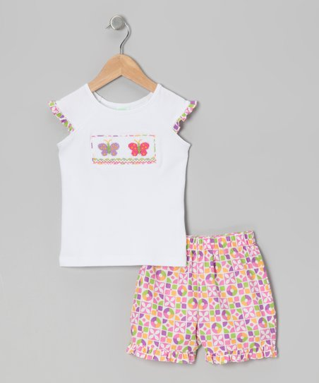 White Butterfly Smocked Tee & Pink Shorts - Girls