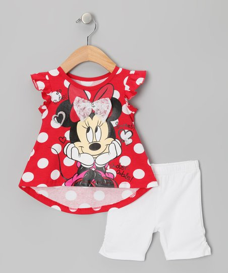 Red Polka Dot Lace Minnie Top & Shorts - Infant & Toddler