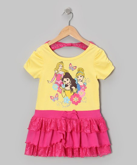 Yellow & Pink Princesses Cap-Sleeve Dress - Toddler