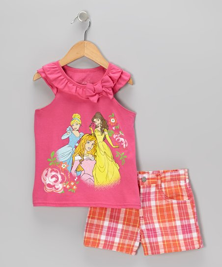 Pink & Orange Princess Tank & Shorts - Toddler