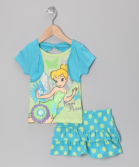Aqua Polka Dot Tinker Bell Layered Tee & Skirt - Toddler