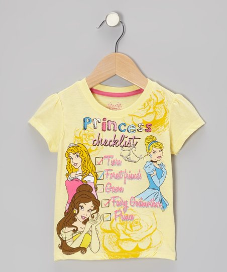 Light Yellow 'Princess Checklist' Tee - Toddler & Girls