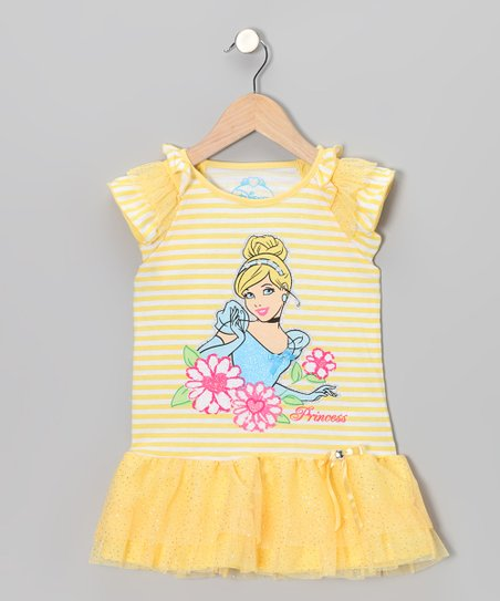 Yellow Stripe Cinderella Tutu Dress - Girls