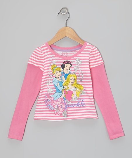 Pink Stripe Princess Layered Tee - Toddler