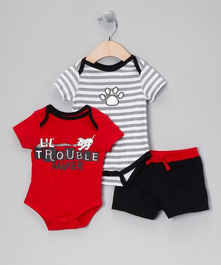 Red & Black 'Lil Troublemaker' Bodysuit Set