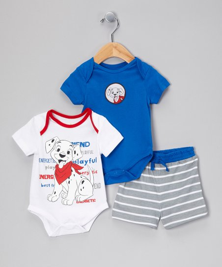Blue & White Dalmatian Puppy Bodysuit Set