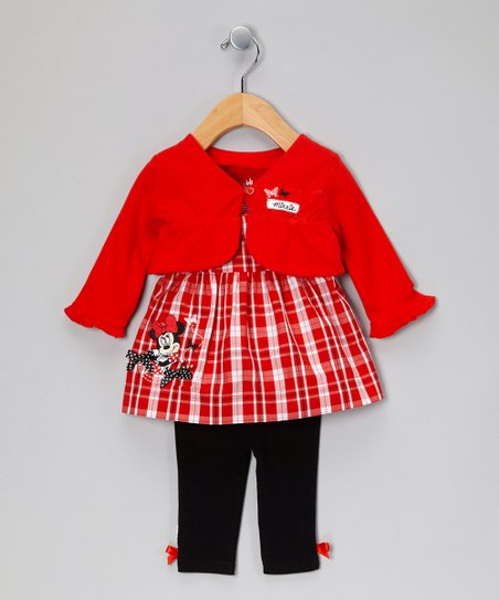Red & Black Minnie Mouse Dress Set