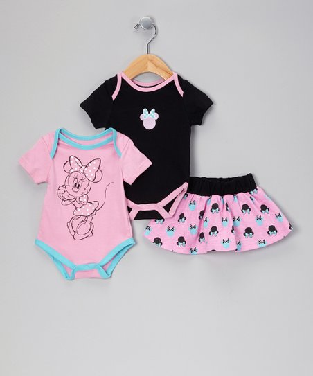 Pink & Black Minnie Mouse Bodysuit Set