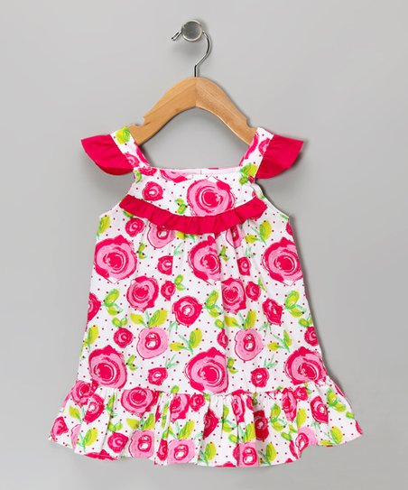 White & Pink Rose Dress - Girls