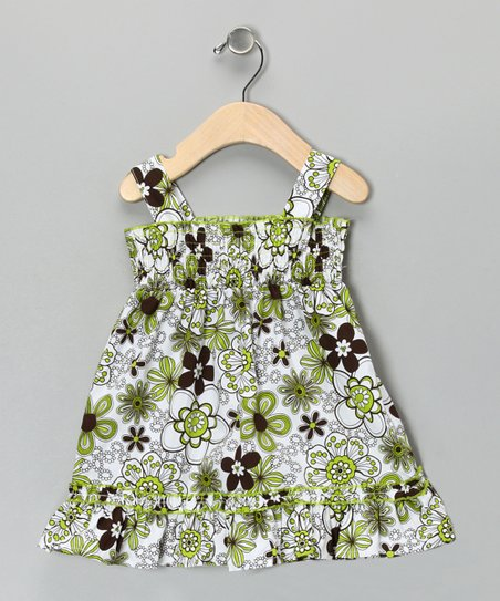 Green Flower Dress - Girls