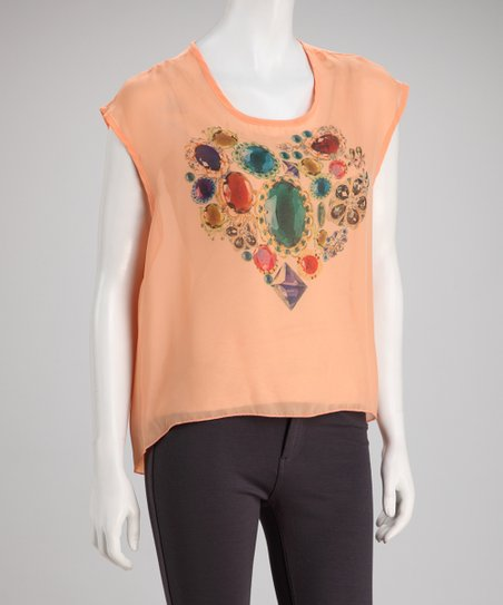 Peach Sheer Gem Graphic Heart Hi-Low Top