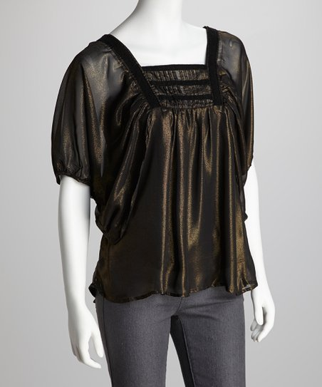 Black & Gold Peasant Top