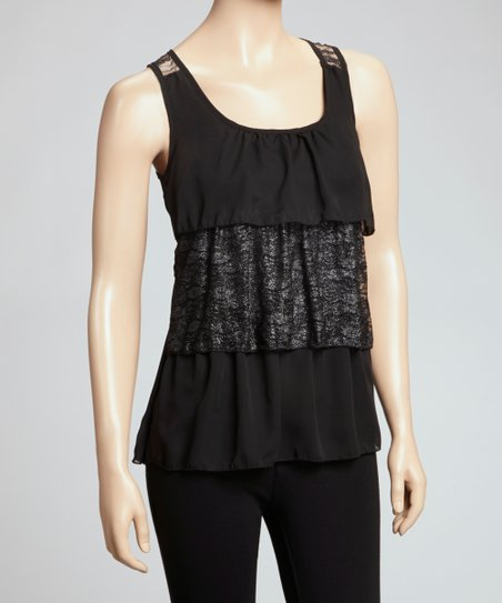 Black Tiered Lace Ruffle Tank