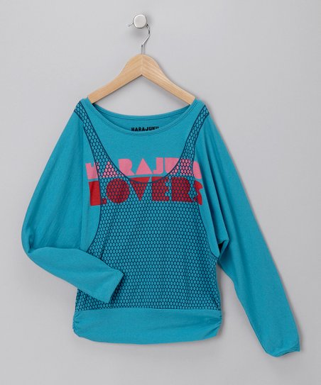 Blue 80's Love Tee - Girls