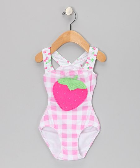 Pink Strawberry One-Piece - Infant, Toddler & Girls