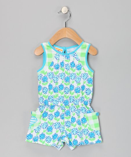 Turquoise Flower Romper - Infant, Toddler &amp; Girls