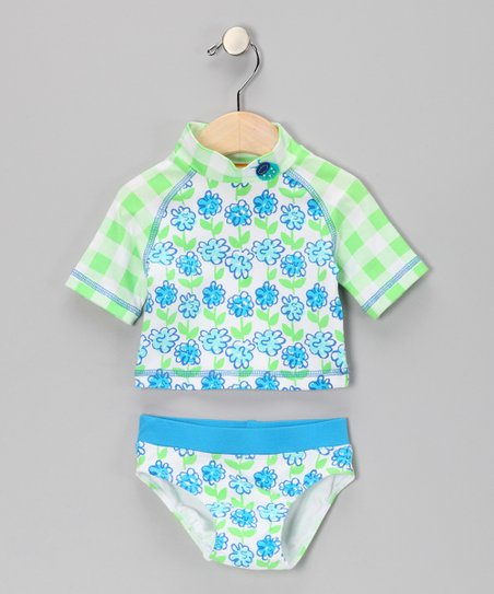 Turquoise Plaid Flower Rashguard Set - Infant, Toddler &amp; Girls