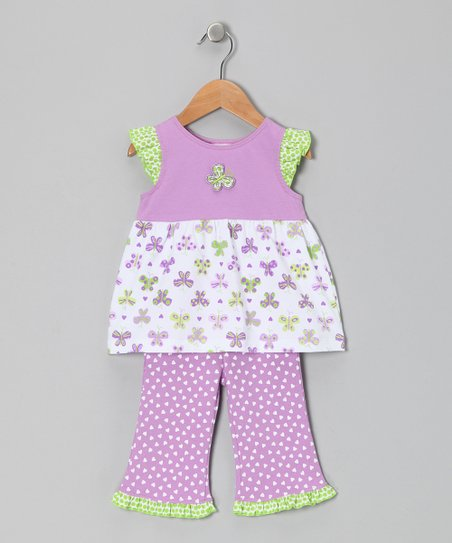 Lavender Papillon Tunic & Ruffle Pants - Infant & Toddler