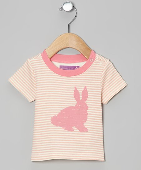 Tropical Peach Stripe Bunny Tee