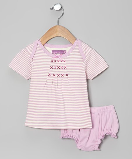 Pink Lavender Stripe Dress & Diaper Cover