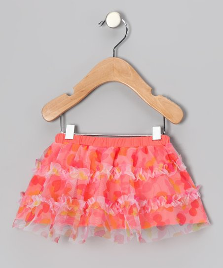 Peach Cherry Ruffle Skirt