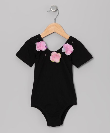 Black Flower Glitz Short-Sleeve Leotard - Toddler &amp; Girls