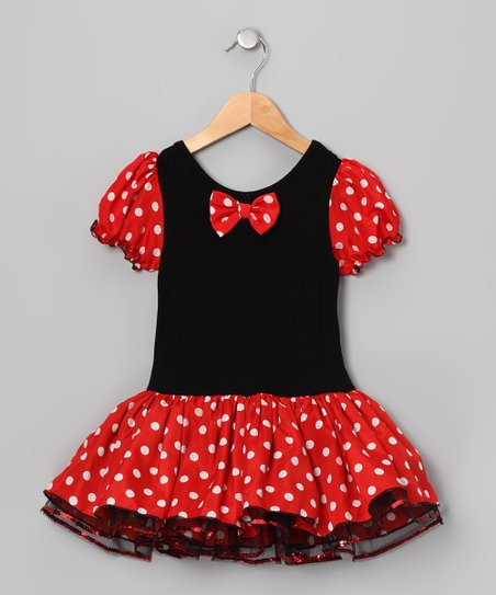 Black & Red Polka Dot Skirted Leotard - Infant, Toddler & Girls