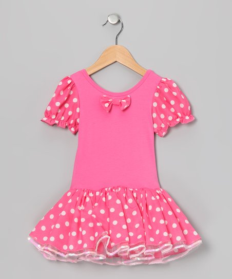 Pink Polka Dot Skirted Leotard - Infant, Toddler & Girls