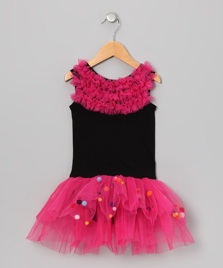 Black Pom-Pom Skirted Leotard - Infant, Toddler & Girls