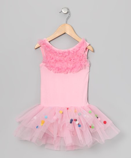 Pink Pom-Pom Skirted Leotard - Infant