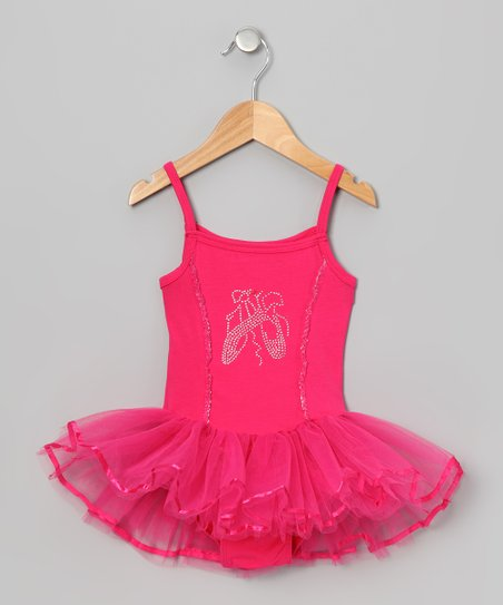 Hot Pink Rhinestone Skirted Leotard - Infant, Toddler & Girls