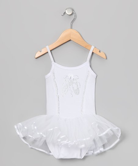 White Rhinestone Skirted Leotard - Infant, Toddler &amp; Girls