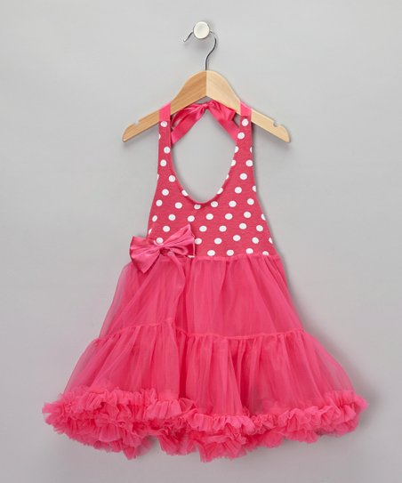 Fuchsia Polka Dot Halter Twirl Dress - Infant, Toddler & Girls