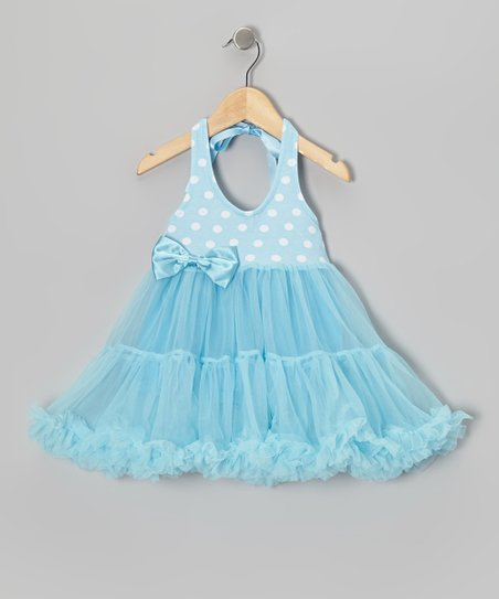 Blue Polka Dot Halter Twirl Dress - Infant, Toddler & Girls