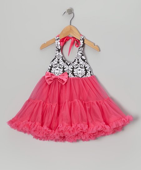 Fuchsia Damask Halter Twirl Dress - Infant, Toddler & Girls