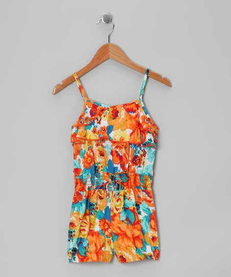 Orange Floral Ruffle Romper