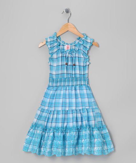 Blue Plaid Ruffle Dress