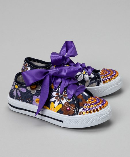 Blue Flower Power Bling Canvas Sneaker